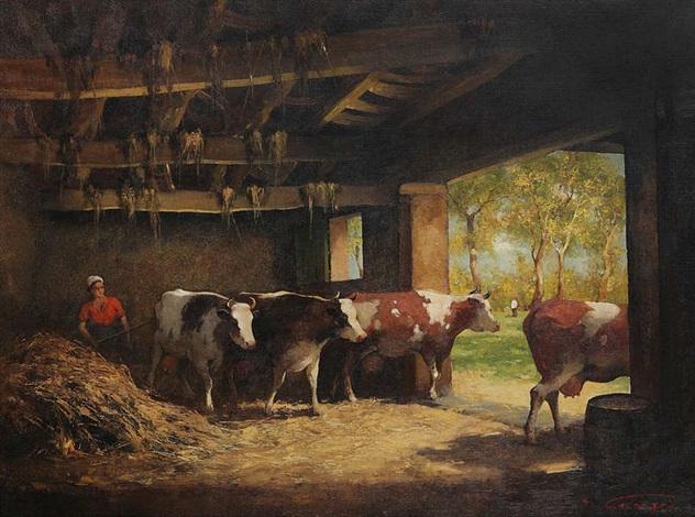 paysanne et vaches à l'étable by simon van gelderen