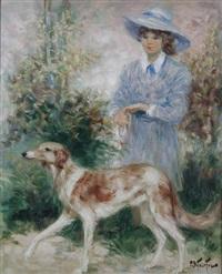 jeune fille au chien by pierre eugène duteurtre