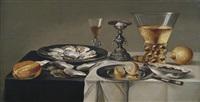 frühstücksstilleben mit austern, brötchen, zitronen, nüssen, salzständer, weinglas und großem berkemeier by anonymous-dutch (17)