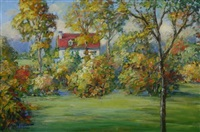 summer landscape with red house by clarence w. snyder