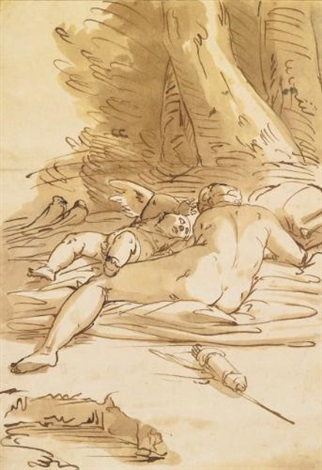 venus and cupid resting in a landscape by luca cambiaso