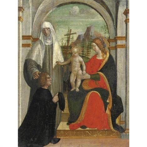 madonna col bambino santa caterina da siena e un donatore by bernadino zenale