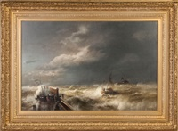 dock with stormy seas by hermann herzog