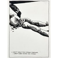 untitled (i can't hold this frame forever. i don't even know his name) by raymond pettibon