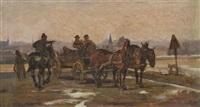 pferdekutsche, von einem berittenen soldaten angehalten by louis (ludwig) braun