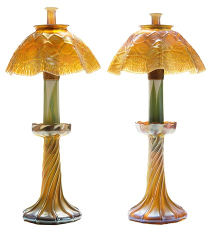 favrile fluid candlestick lamps 2 works by louis comfort tiffany