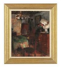 the artist's studio by herman albert gude vedel