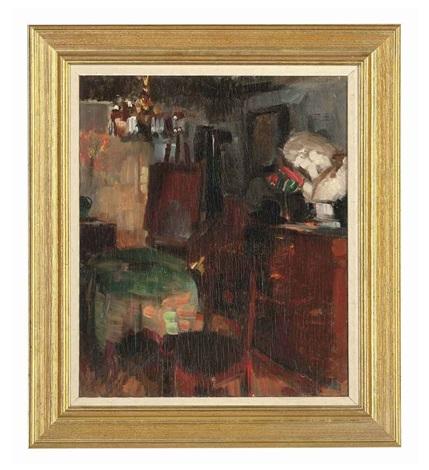 the artists studio by herman albert gude vedel