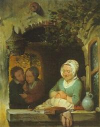 wenn großmutter schläft kann der verehrer der enkelin ein küsschen wagen by franciscus melzer
