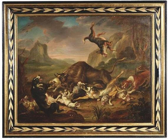 jagdhunde im kampf mit einem stier by juriaen jacobsz