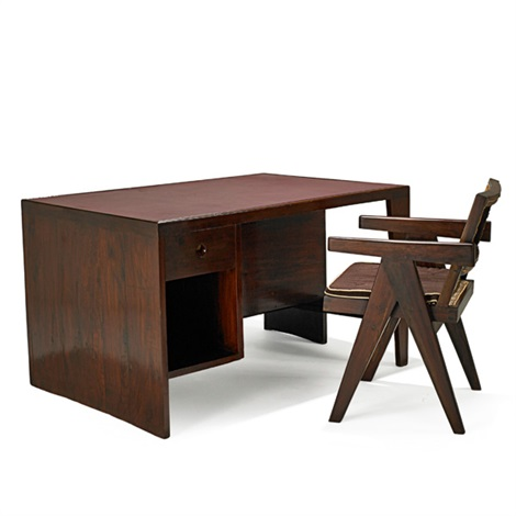 desk and chair from the chandigarh administrative buildings 2 works by pierre jeanneret