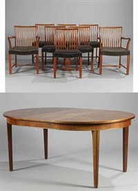 cuba chairs and armchairs and a table (set of 9) by h. m. birkedal hansen & son