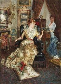 musikstunde. im prächtigen salon eines hauses lauscht eine dame dem klavierspiel einer freundin by francesco saverio altamura