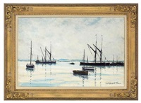 moored boats in an estuary by hugh boycott-brown