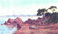 kystparti med personer, i baggrunden sejlskibe by paul valantin