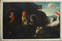 a cockerel, rabbits, a turkey, a goose alarmed by a cat by david de coninck
