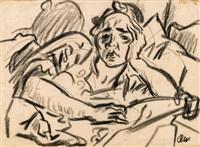 mann mit aufgestütztem arm (selbstporträt) by rudolf wacker