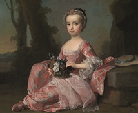 a portrait of a young girl sitting in a park holding a basket of flowers by thomas hudson