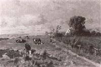 magd mit kühen an der tränke an einem teich vor dem gehöft by emil hermann hartwich