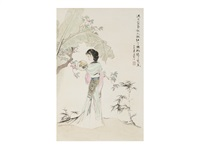 traditional chinese painting of beautiful women by liu danzhai