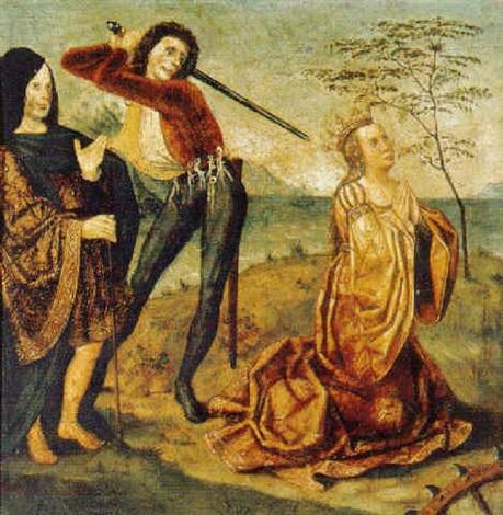el martirio de santa catarina de alejandria con un donante by hispano german school 16