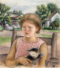 portrait of the artist's daughter sonia with cat by simkha simkhovitch