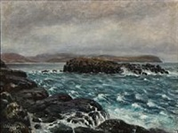 coastal scene presumably from the faeroe islands by joen waagstein