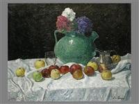 stillleben mit äpfeln und blumenkrug by ludwig von senger