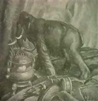 stilleben mit elephantenskulptur by charles husslein