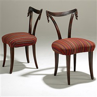 pair of fireside chairs (upholstered in jack lenor larsen fabric) by grosfeld house