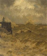 die alte liebe. hafenbollwerk bei cuxhafen bei sturmflut by julius friedrich ludwig runge