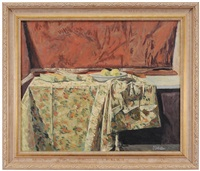 still life with tablecloth and fruit by john koch
