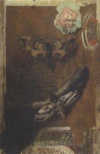 gemalter zigarrenkistendeckel mit zwei schmetterlingen by hermann gottlieb kricheldorf