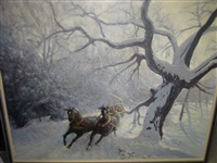 winter landscape with horse-drawn sleigh by yada labatut