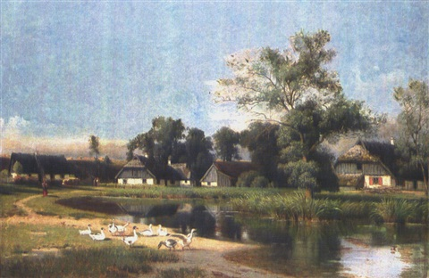 enten am dorfweiher by otto rabe