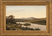 river landscape with distant mountains and a lone figure looking down on a crowd of people surrounding an american flag by william louis sonntag