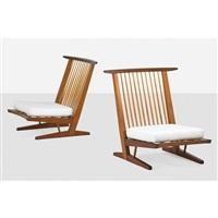 conoid cushion lounge chairs (pair) by george nakashima