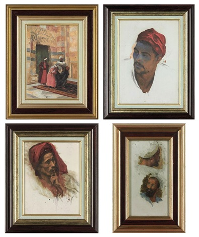 the arrival of the sheik (+ 5 others (studies); 6 works) by ludwig deutsch