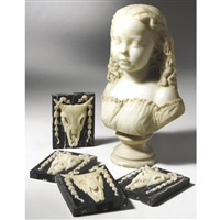 young girl (+ 4 bucranium-carved plaques; 5 works) by john adams-acton