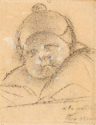 bullfighter (+ portrait of tora (adam and ellen fischer's daughter, charcoal, lrgr; 2 works by manolo (manuel hugue)