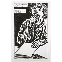 untitled (today would have been his birthday. elvis wouldve wanted me to read the bible.) by raymond pettibon