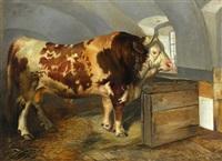 der stier in der stallung by carl rudolph huber