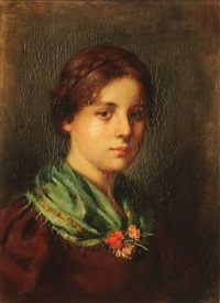 portrait of a young woman with a green shawl by emma (edle von seehof) müller