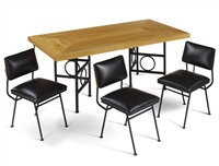 dining table and eight chairs by edward durell stone