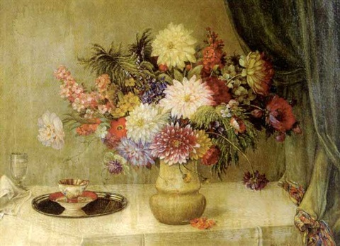 still life with flowers and teacup by j. voisard
