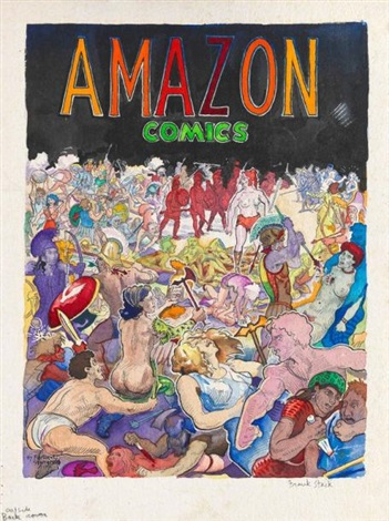 amazon comics back cover by frank huntington stack