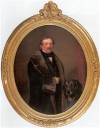 halbfiguriges portrait eines russischen barons mit hund by sergej konstantinowitsch sarjanko