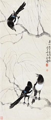 三喜图 magpie by the willow by xu beihong