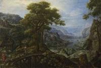flusslandschaft mit schafherde und flucht nach ägypten by marten van valkenborch the elder