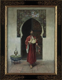 an arab musician before a tiled doorway by gustavo simoni